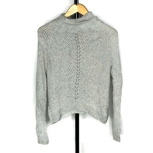 Moth Anthropologie Grey Knitted Cowl Neck Sweater